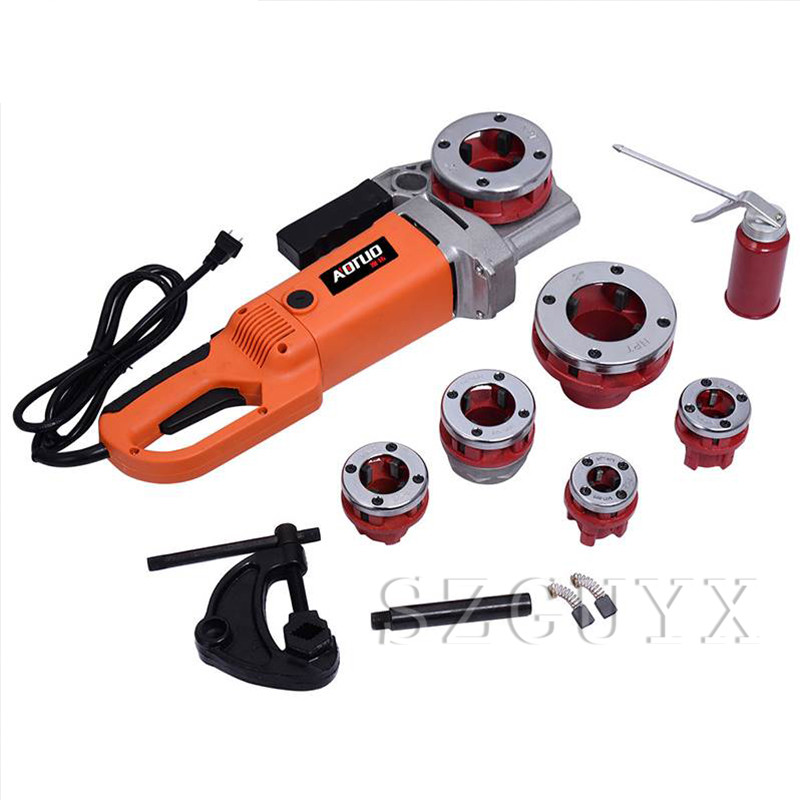 Tools : 220V Electric Pipe Threading Machine Household Galvanized Pipe Iron Pipe Sleeve Portable Threading Machine