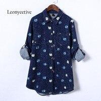 Leonyeetive 2017 Summer Autumn Big Size Women Long Shirt Cotton Cat Blouses Style Clothing Full Sleeve