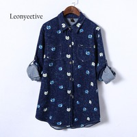 Leonyeetive 2017 Summer Autumn Big Size Women Long Shirt Cotton Cat Blouses Style Clothing Full Sleeve