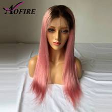Brazilian Virgin Hair Straight Lace Front Human Hair Wigs With Baby Hair 1B/Pink Lace Wig For Women Pre Plucked Natural Hairline(China)