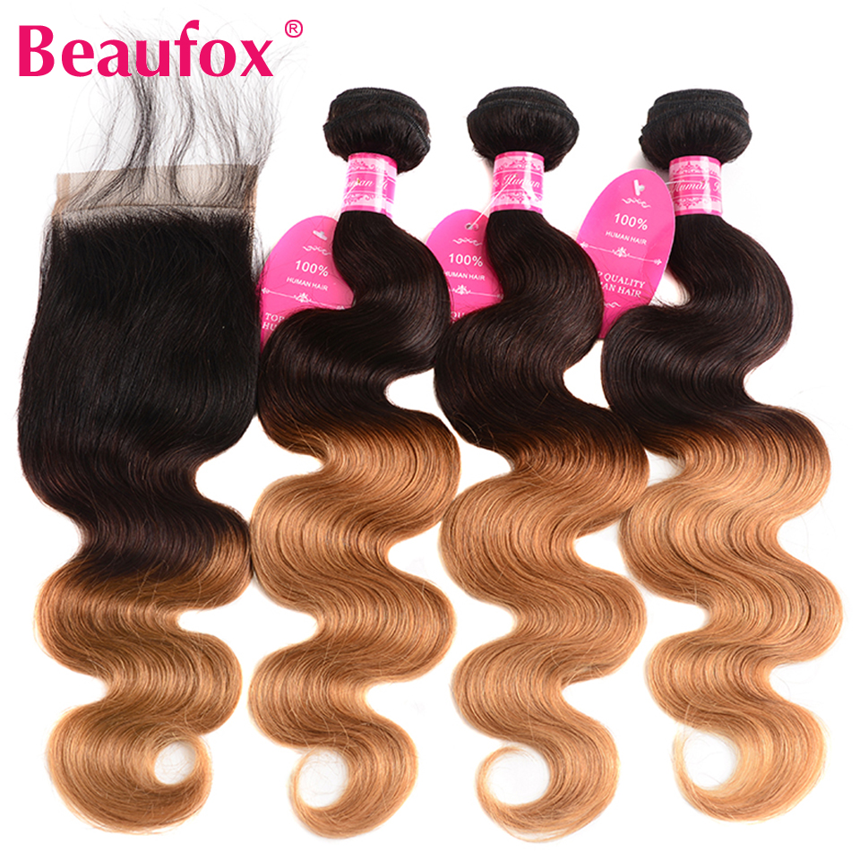Beaufox Ombre Brazilian Hair Body Wave With Closure 1B/4/30 Ombre Human Hair Bundles With Closure Non Remy Extensions