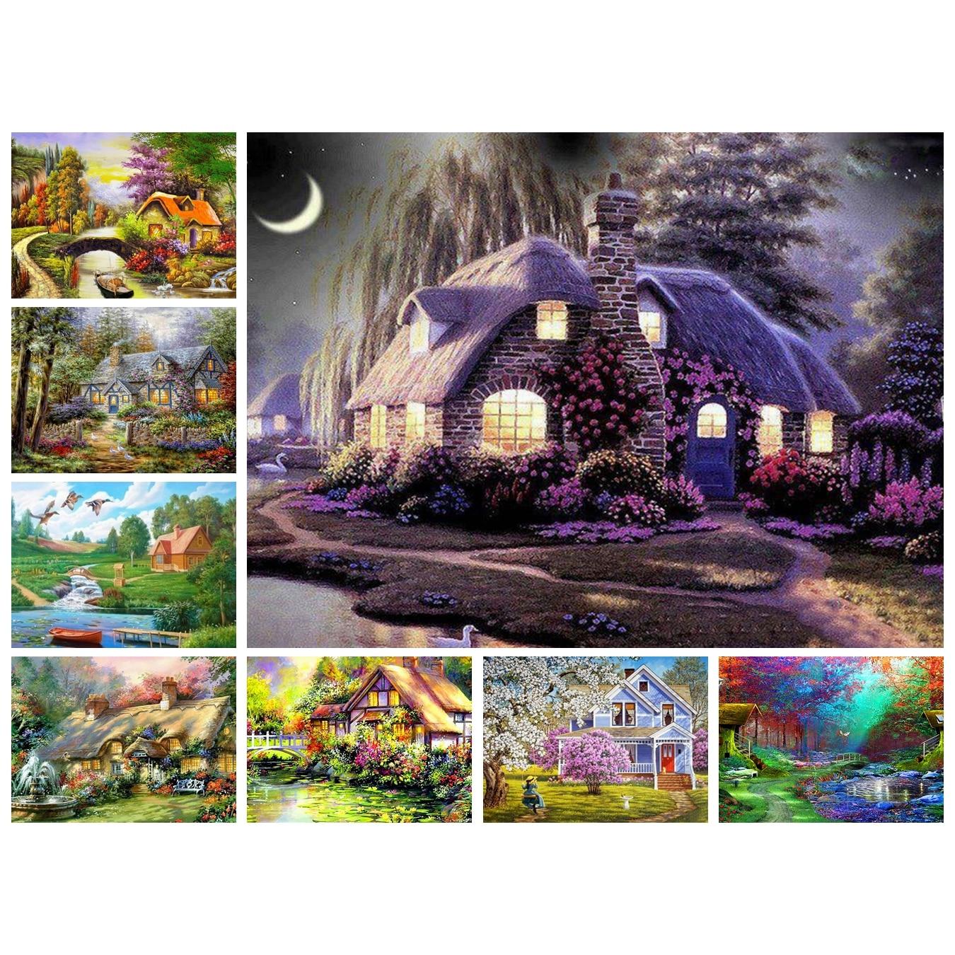 Rural,Scenery,Full,5D,DIY,Diamond Painting,Needlework,Diamond Embroidery,Cross Stitch,Round Rhinestone,Home Decoration,Art