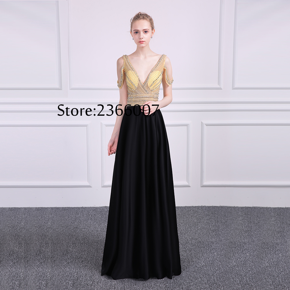 yiwumensa Design Silver bling beading A line   Prom     dress   2017 sexy V neck Backless   Prom     dresses   graduation gown Vestido de fiesta