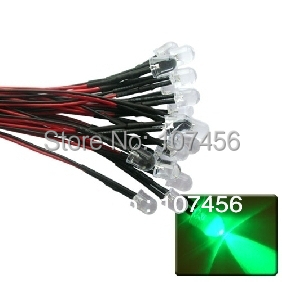 50pcs 10mm Green LED Lamp Light Set 20cm Pre-Wired 24V Free Shipping