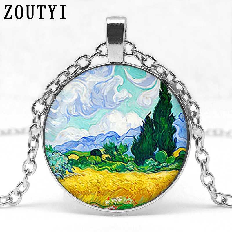 2018/Cổ Điển Van Gogh lúa mì lĩnh vực với cây bách nghệ thuật mặt dây chuyền glass cabochon vòng cổ vòng cổ dài chuỗi đồ trang sức thời trang.