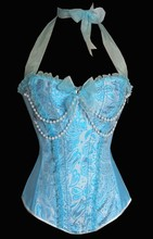 Women's vintage corset 666 New Sexy Hot Pearl Bustier Satin Embroidered plus size Overbust Corsets Size S-XXL