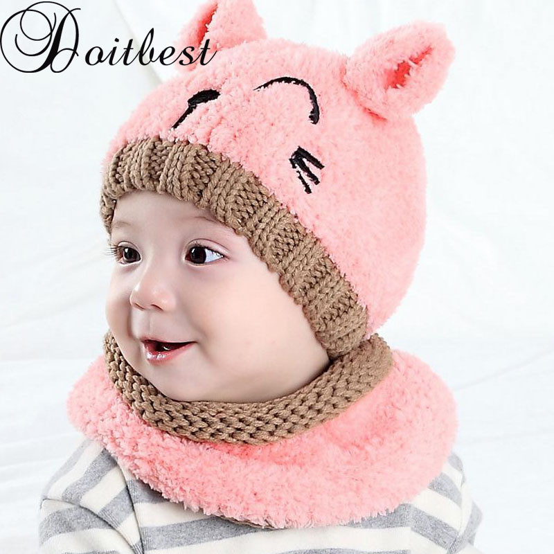 Doitbest 6 Months To 3 Y Old Kids Beanies Korea Two Ears Little Bear Boys Knitted Hats Winter 2 Pcs Fur Baby Girl Scarf Hat Set