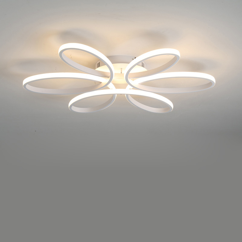 Modern Led Lamp White Iron Chandelier Lustre With Remote Control Living Room Kitchen Foyer Decor Home Lighting Fixtures AC 220V