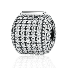 Authentic 925 Sterling Silver Pave Clear CZ Clip Charms Original fit pandora Bracelet DIY Fashion Jewelry Making Accessories