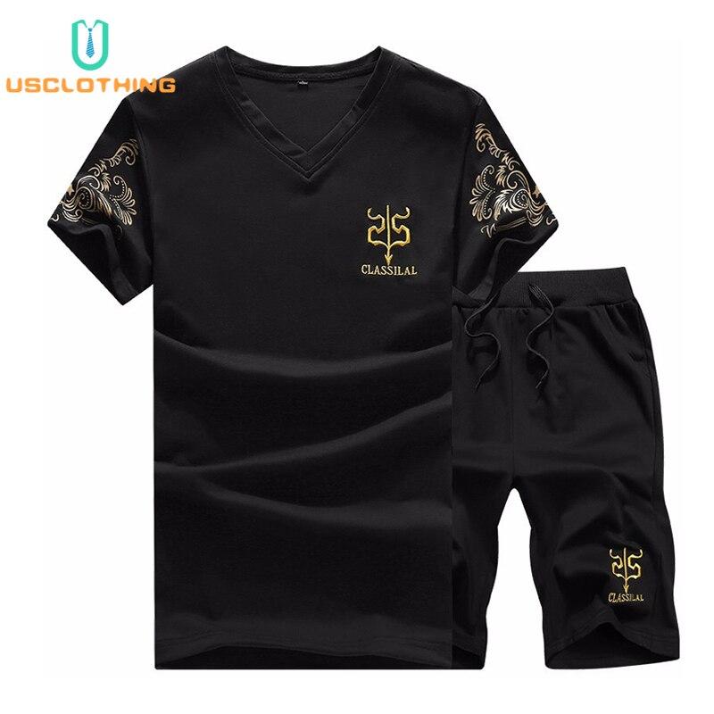 2 Pcs T Hemd Männer Mode T-shirt + Shorts Sets T-shirt Sportswear T-shirts Herren Sets Strand Sweatshirt Mode T Hemd Männer Set Nb1a