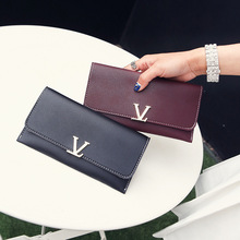Black Luxury Long Wallet Women Purses with V Letter Coin Purse Card Holder Wallets Female Clutch Money Bag PU Leather Wallet недорго, оригинальная цена