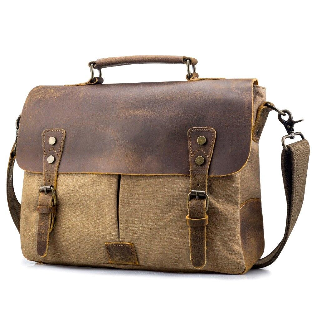"""Men Leather Messenger Shoulder Bag Travel 14/"""" Laptop Briefcase Business Work Bag"""