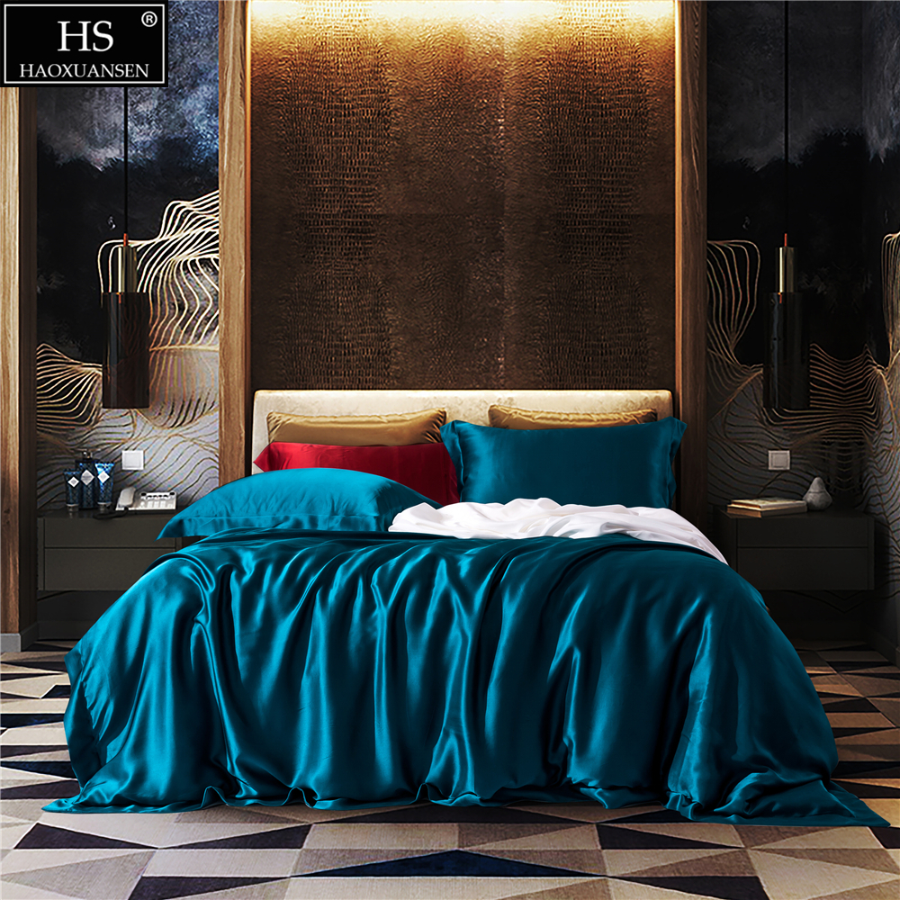 Mulberry Silk 4 Pcs Bedding Sets With Hidden Button Both Side 19 MM Silk Sheet Quilt cover Pillow case King Size Jewelry Blue