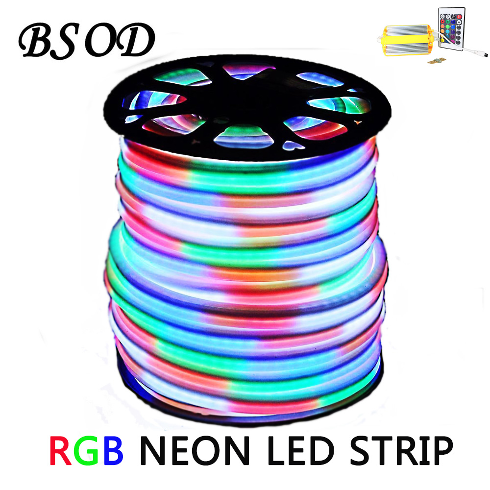 50m / tekercs RGB LED neonszalag SMD5050 bemenet AC220V 15W / M - LED Világítás