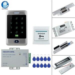Image 1 - RFID сенсорная Водонепроницаемая металлическая система контроля доступа с 12 В постоянного тока NC/без электрического болтового замка/магнитный замок для двери безопасности
