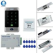 Sistema de Control de Acceso de Metal, RFID, táctil, resistente al agua, con 12VDC NC/sin Cerradura de perno eléctrico/cerradura magnética para puerta de seguridad