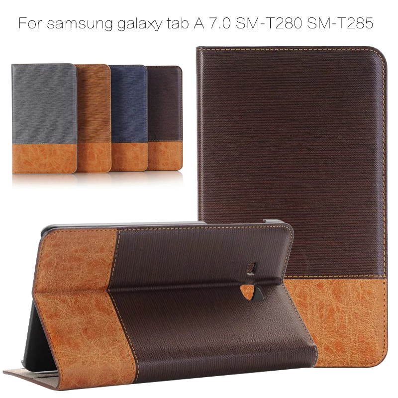 Patchwork PU leather case for samsung galaxy tab A 7.0 SM-T280 SM-T285 T280 T285 7'' cover case + Film + Stylus Pen case for samsung galaxy tab a 9 7 t550 inch sm t555 tablet pu leather stand flip sm t550 p550 protective skin cover stylus pen
