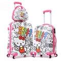 13 '' 20 '' 24 '' olá Kitty bagagem de viagem / sacos de moda carta / design dos desenhos animados Hardside mala com rodas