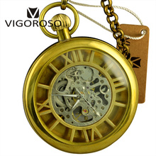 Luxury Gifts Antique Real Copper Case Skeleton Mechanical Hand Wind Pocket Watch Roman Numeral FOB Chain Clock Men Vintage Watch