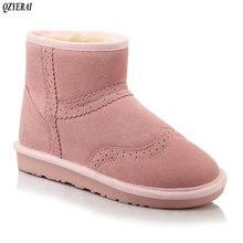 QZYERAI Mulheres Botas de Inverno Botas de Neve Curto Tornozelo Inverno Botas de Couro Genuíno das mulheres Sapatos de Pelúcia Quente Botas Femininas Mais