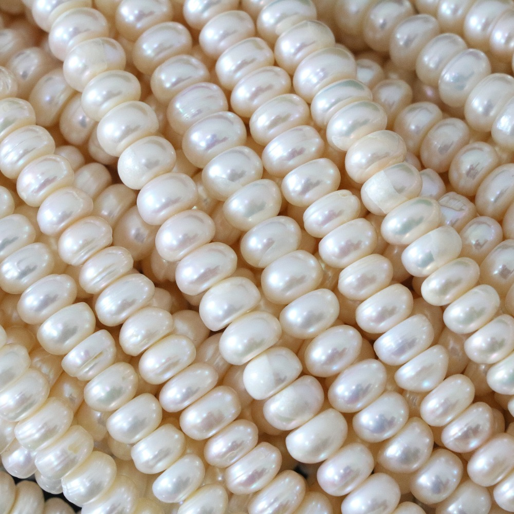 Top quality natural white freshwater pearl loose abacus beads 6*8mm women high grade free shipping jewelry making 15inch B1322