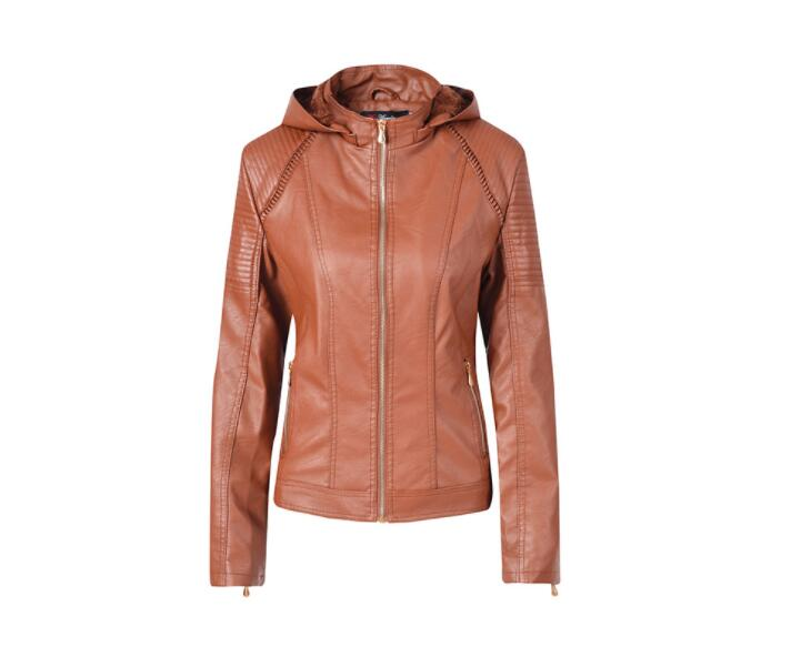 Best selling 2019 new   leather   jacket women's fashion large size stand collar hooded zipper jacket long-sleeved women's jacket