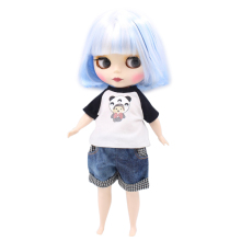 factory plump blyth doll 1/6 30cm white mix blue fat body white skin matte/frosted face gift toy 130BL1366005