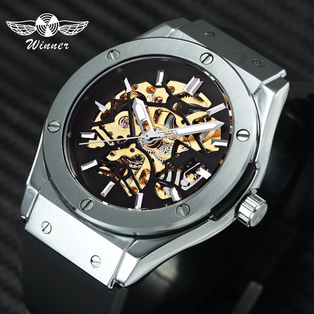 WINNER Men Sport Fashion Mechanical Wristwatch Rubber Strap Skeleton Dial Automatic Movement Military Wristwatch Christmas Gift