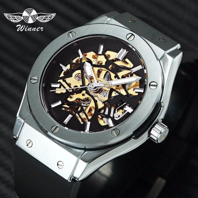 c1535249fe7 WINNER Men Sport Fashion Mechanical Wristwatch Rubber Strap Skeleton Dial  Automatic Movement Military Wristwatch Christmas Gift