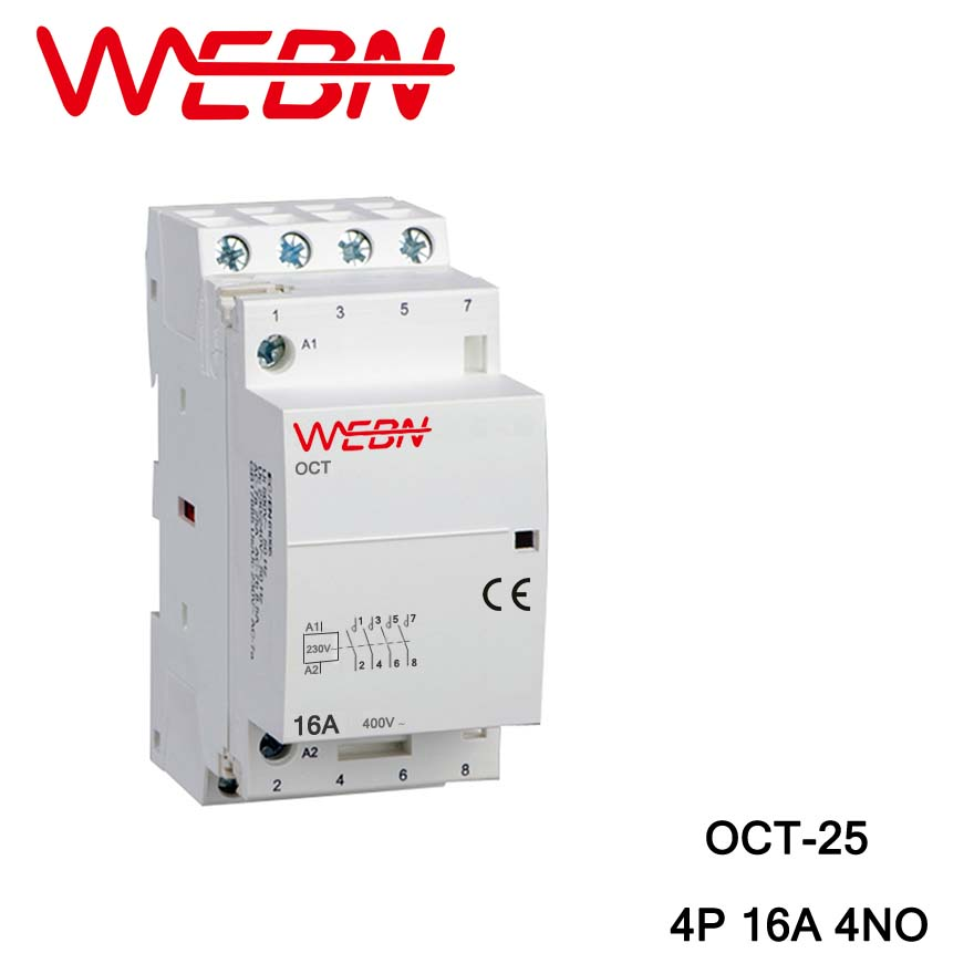 OCT 25 Series AC Household Contactor 220V 230V 50 60Hz 4P 16A 4NO Four Normal Open Contact Din Rail Contactor in Contactors from Home Improvement
