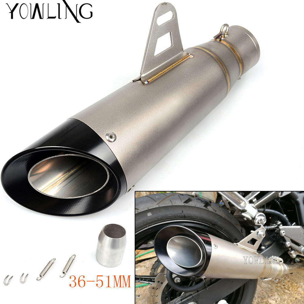 Universal Inlet 36 - 51mm Motorcycle Exhaust Muffler Tip Pipe Silp On Modified Stainless Steel Silencer Exhaust SystemUniversal Inlet 36 - 51mm Motorcycle Exhaust Muffler Tip Pipe Silp On Modified Stainless Steel Silencer Exhaust System