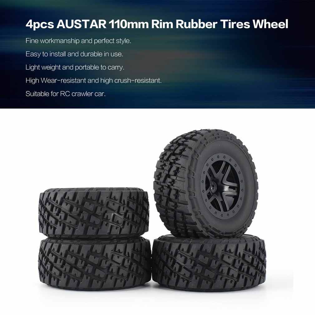 4 pcs AUSTAR 110mm Velg Rubber Tyre Wheel Set Kit Onderdelen Accessoires voor Traxxas Slash 4X4 RC4WD HPI HSP Crawler Auto Model