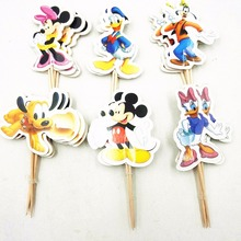 цена на 24pcs Mickey Minnie Mouse Cake Dessert Inserted Card Prod With Picture Cake Topper Decoration Kid Birthday Party Decoration