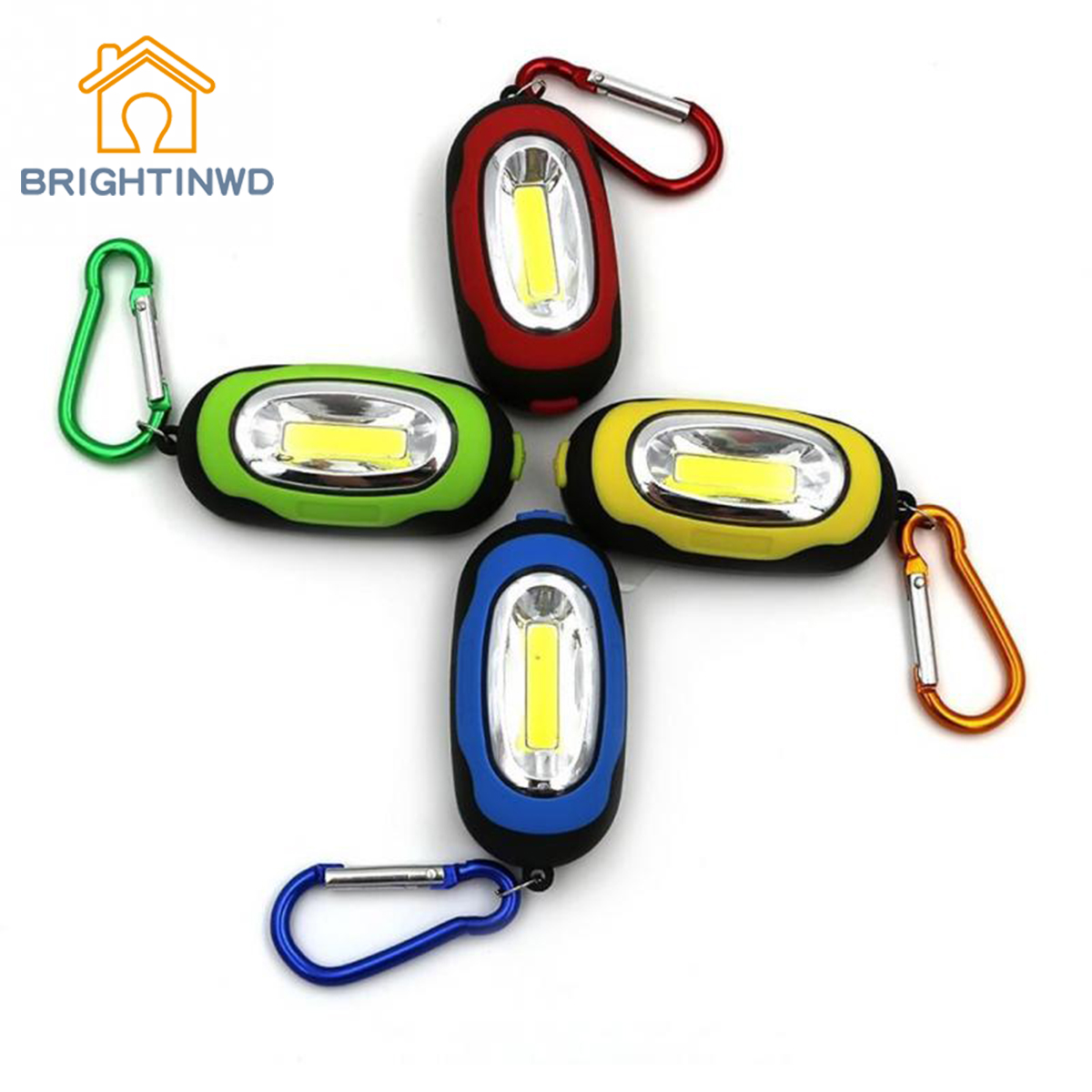 BRIGHTINWD New Portable Magnetic Key Chain Flashlight Torch COB LED Working Light Lamp Camping Lantern