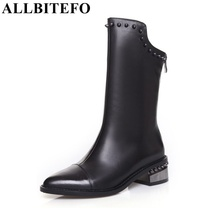 ALLBITEFO new arrive genuine leather pu thick heel women boots fashion rivets high heels winter snow