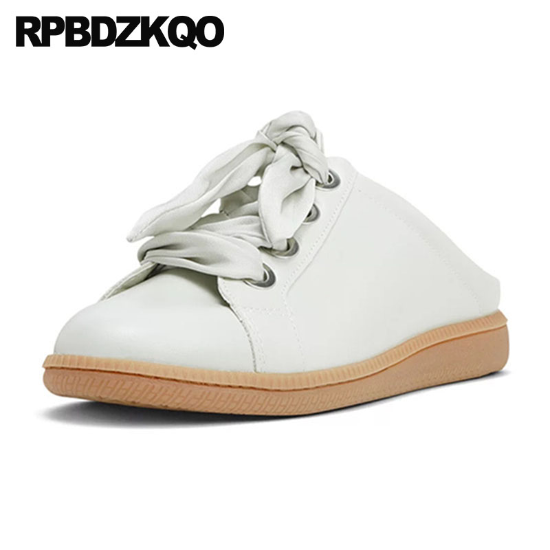 цены Slippers Sneakers Round Toe Women Korean Lace Up Ladies Wide Fit Shoes Leisure Mules Slip On White Flats Designer 2018 Riband