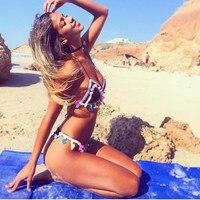 BiLvLanLv Women Bikini Swimwear 2017 Sexy Fringe Brazilian Biquini Tassel Pom Pom Retro Swimming Suit For