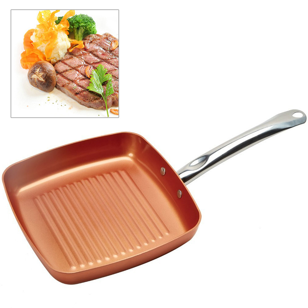 Wholesale Aluminum Non-stick Fryer Pan Steak Breakfast Frying Eggs Cooking Helper Double Side Grill Fry Pan Oven Dishwasher Safe
