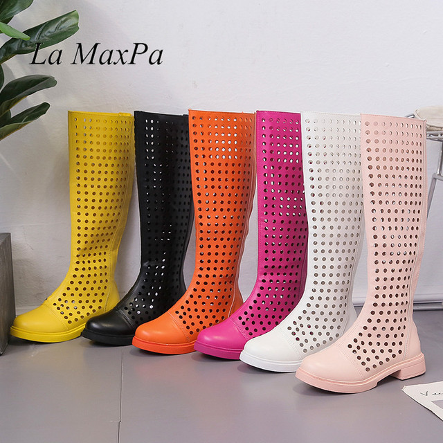 Breathable Spring Super Hot Sale Summer Boots 2019 Stylish Candy Color Daily Shoes Women Light Back Zipper Boots Size 35-39