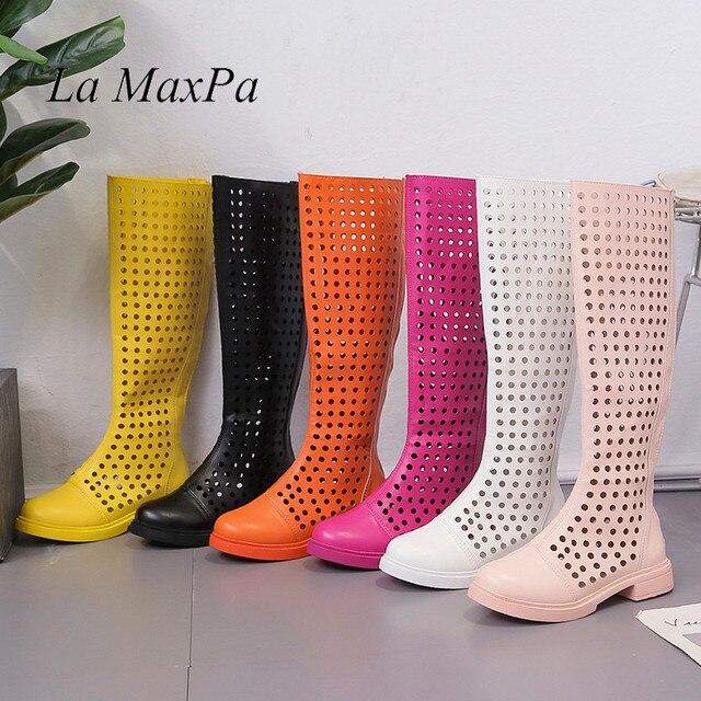 Nefes Bahar Süper Sıcak Satış Yaz Çizmeler 2019 Şık Şeker Renk Günlük Ayakkabı Kadın Açık Geri Fermuar Çizmeler Boyutu 35 -39