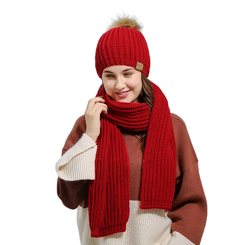 2 Pieces Hat And Scarf Women Winter Long Knit Fur Scarf Hat Scarf Winter Cashmere Knitting Wool Cap Warm Female Leisure Scarf