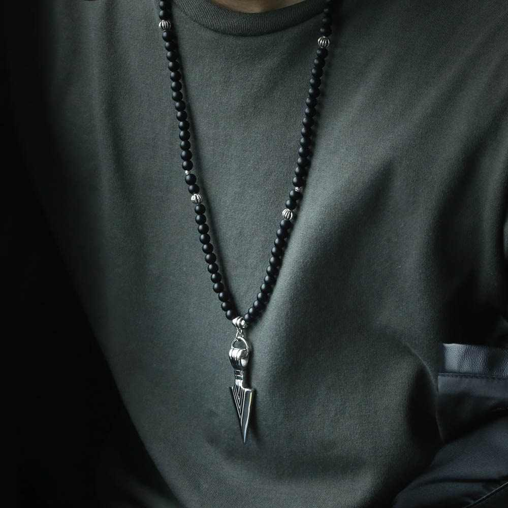 Unique Men's Neckalce Silver Stainless Steel Arrow Pendant Matte Black Glass Beaded Necklace Male Jewelry Dropshipping DNM07