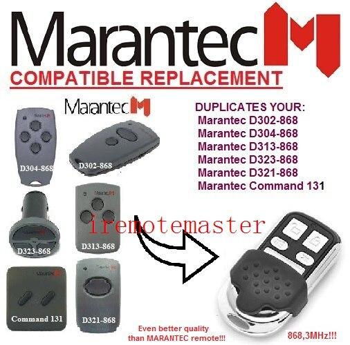 Marantec D302-868,D304-868,D313-868,D321-868 fixed code garage door replacement remote 868mhz