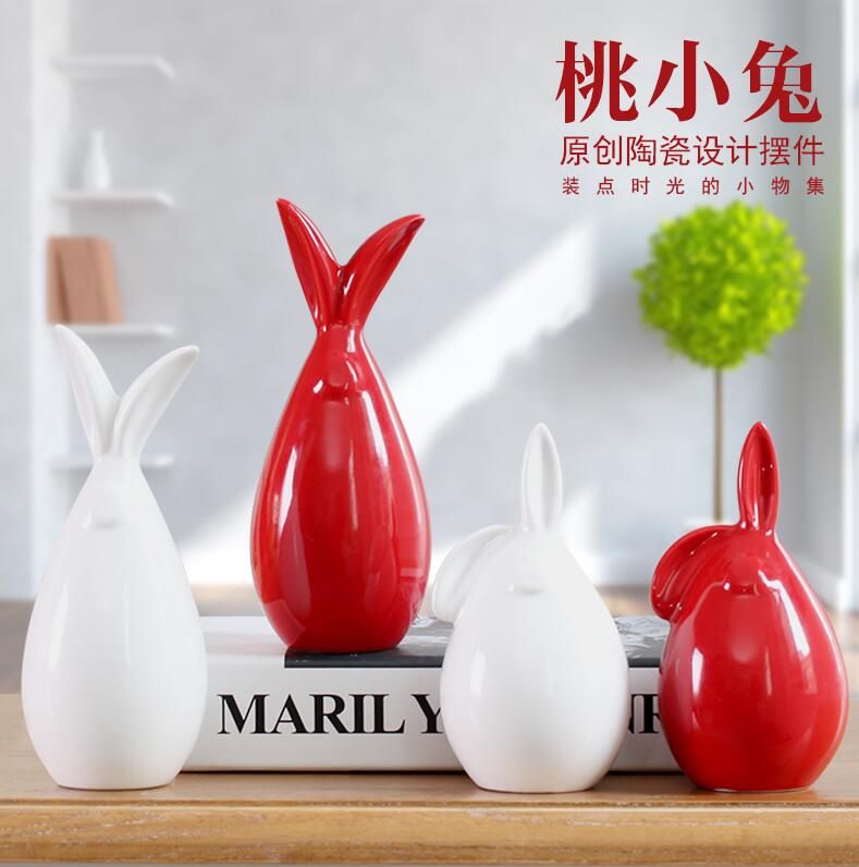 ceramic red white yellow rabbit home decor craft room decoration Bunnie handicraft ornament porcelain animal figurine decoration