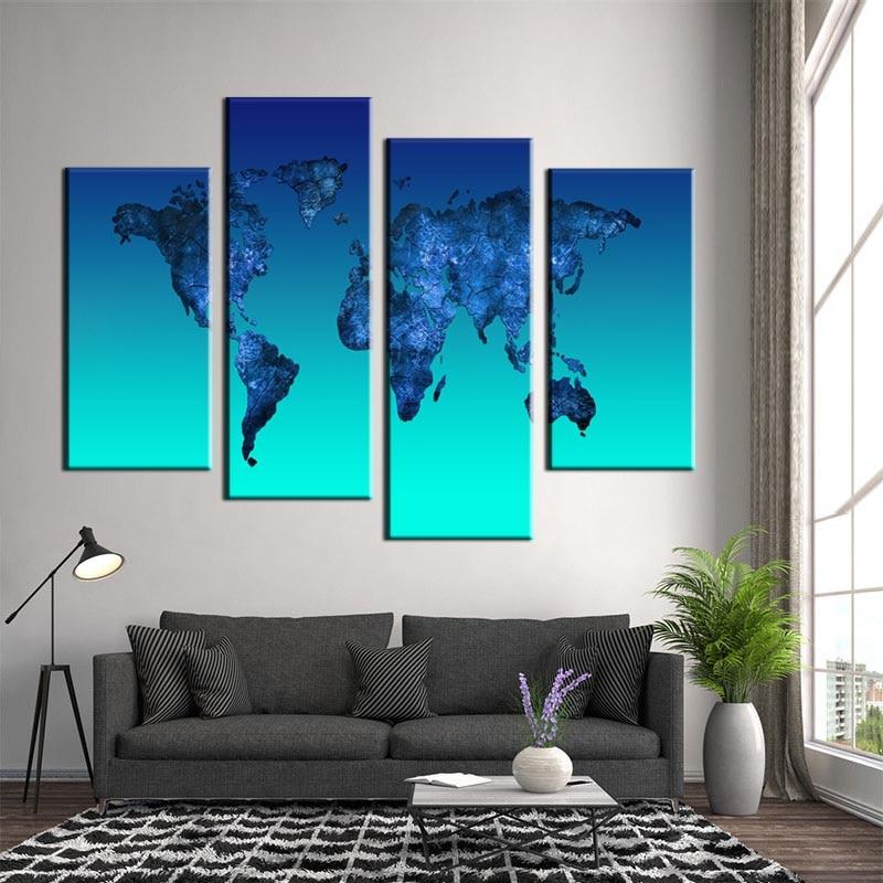20 99 36 De Réduction Carte Du Monde Toile Impression Peinture Abstraite Bleu Clair Global Carte Mur Photos Pour Salon Décor 4 Pièce Cadeau