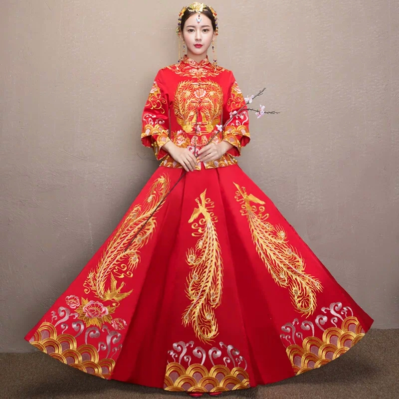 China Wedding Gown: Bride Wedding Dress Traditional Chinese Style Costume