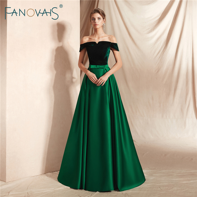 Elegant Dark Green Evening Dresses Long Off the Shoudler A-Line Velvet Top Satin Prom Dress 2018 Vestido de Fiesta Largo NE17