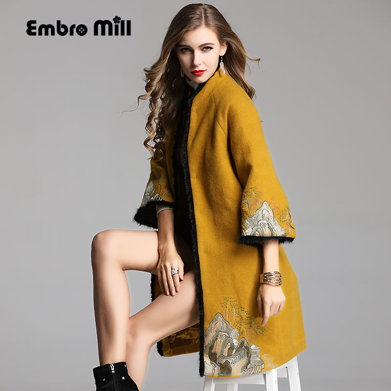 High-end Winter Trench Coats For Women Elegant Floral Woolen Splice Mink Hair Embroidery Loose Lady Coat Female S-XXL