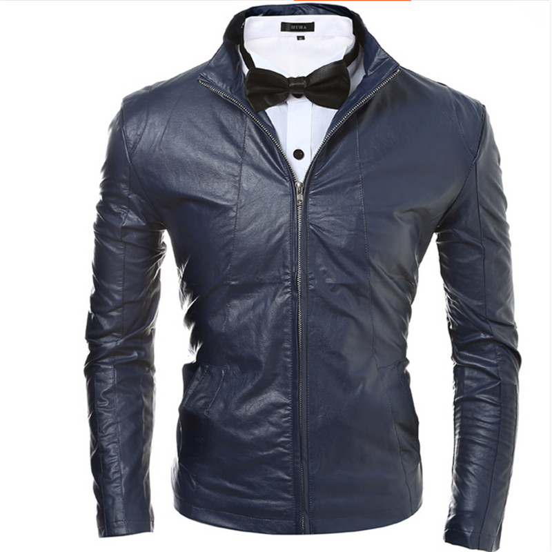 Men PU Leather Jacket Coats Brand Design Slim Fit Fashion Outdoor Zipper Motorcycle F1822