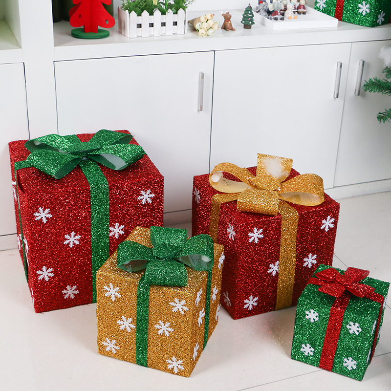 1PCSNew Christmas Decoration Supply 3D Square Gift Box For